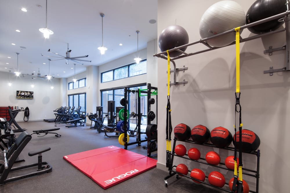 Modern fitness center at The Paramount at South Market in New Orleans, Louisiana