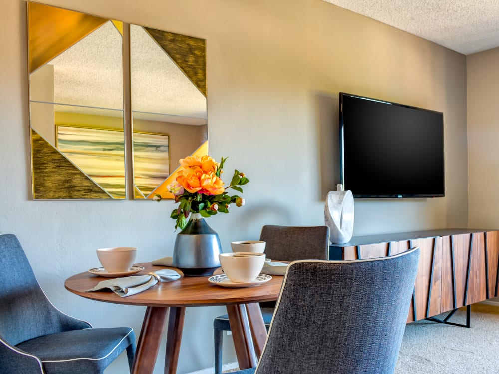 Fine furnishings in a model home's dining nook at Sofi Belmont Hills in Belmont, California