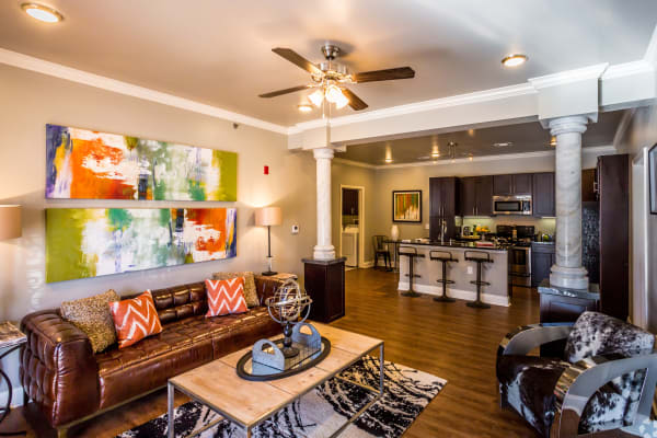 Modern living room at Arlo Luxury Apartment Homes in Little Rock, Arkansas