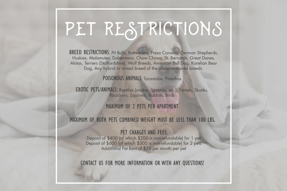 Pet Restrictions and policies at Timnath Trail at Riverbend Apartment Homes