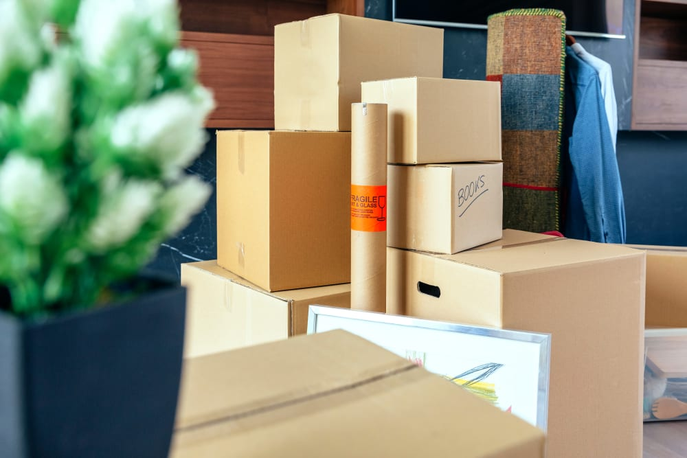 Stack of boxes ready to be stored at StayLock Storage in Benton Harbor, Michigan
