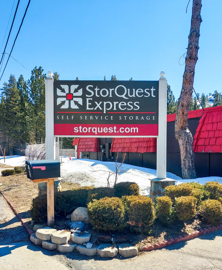 Exterior of the leasing office and parking lot at StorQuest Express Self Service Storage in South Lake Tahoe, California