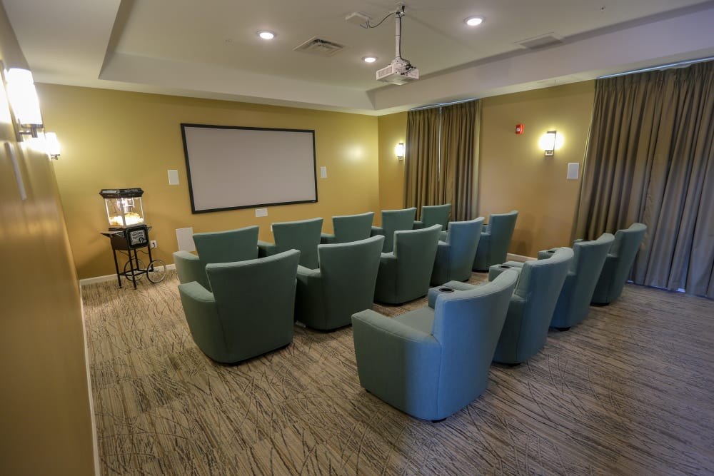 The onsite movie theater at Harmony at Spring Hill in Lorton, Virginia