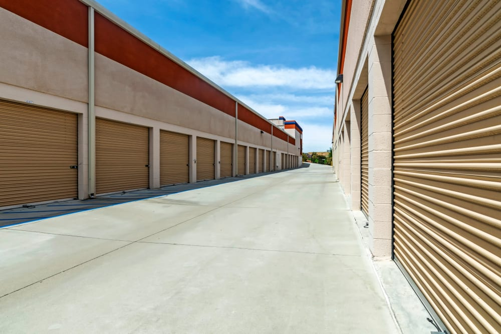 Wide drive aisles at Carlsbad Self Storage