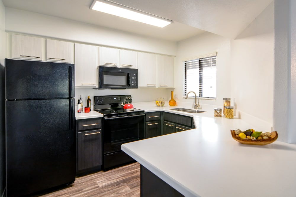 Model kitchen at The Palms on Scottsdale in Tempe, Arizona