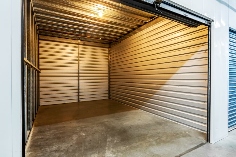 Interior units with lights at Olivenhain Self Storage