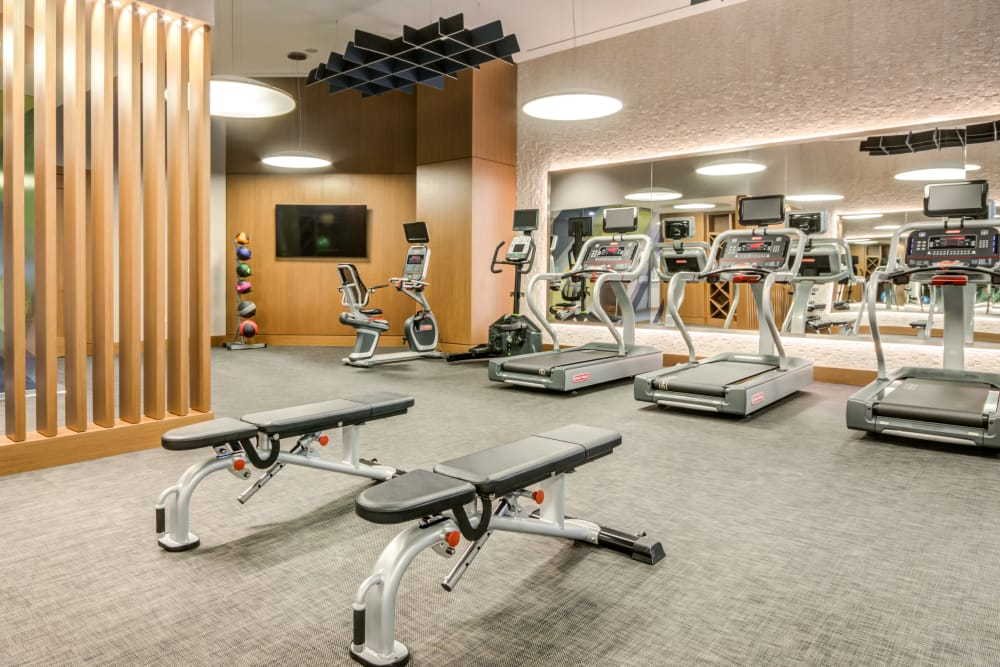 State of the art fitness center and workout room at Gallery Bethesda II in Bethesda, MD