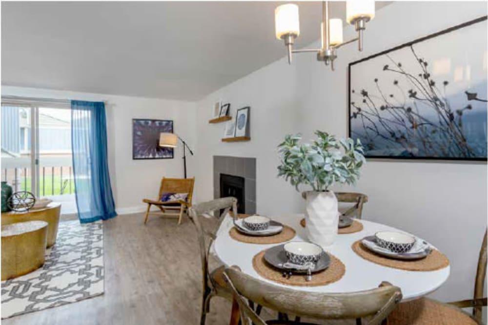 Modern dining room at The Pines at Pinehurst in Denver, Colorado