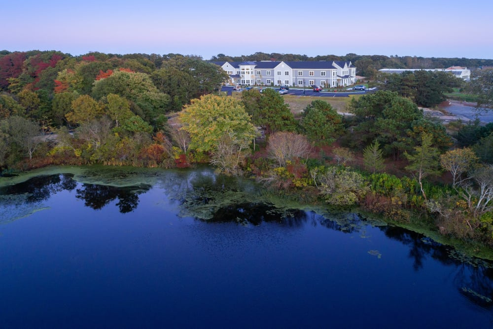 Beautiful lake at Maplewood Senior Living in Westport, Connecticut