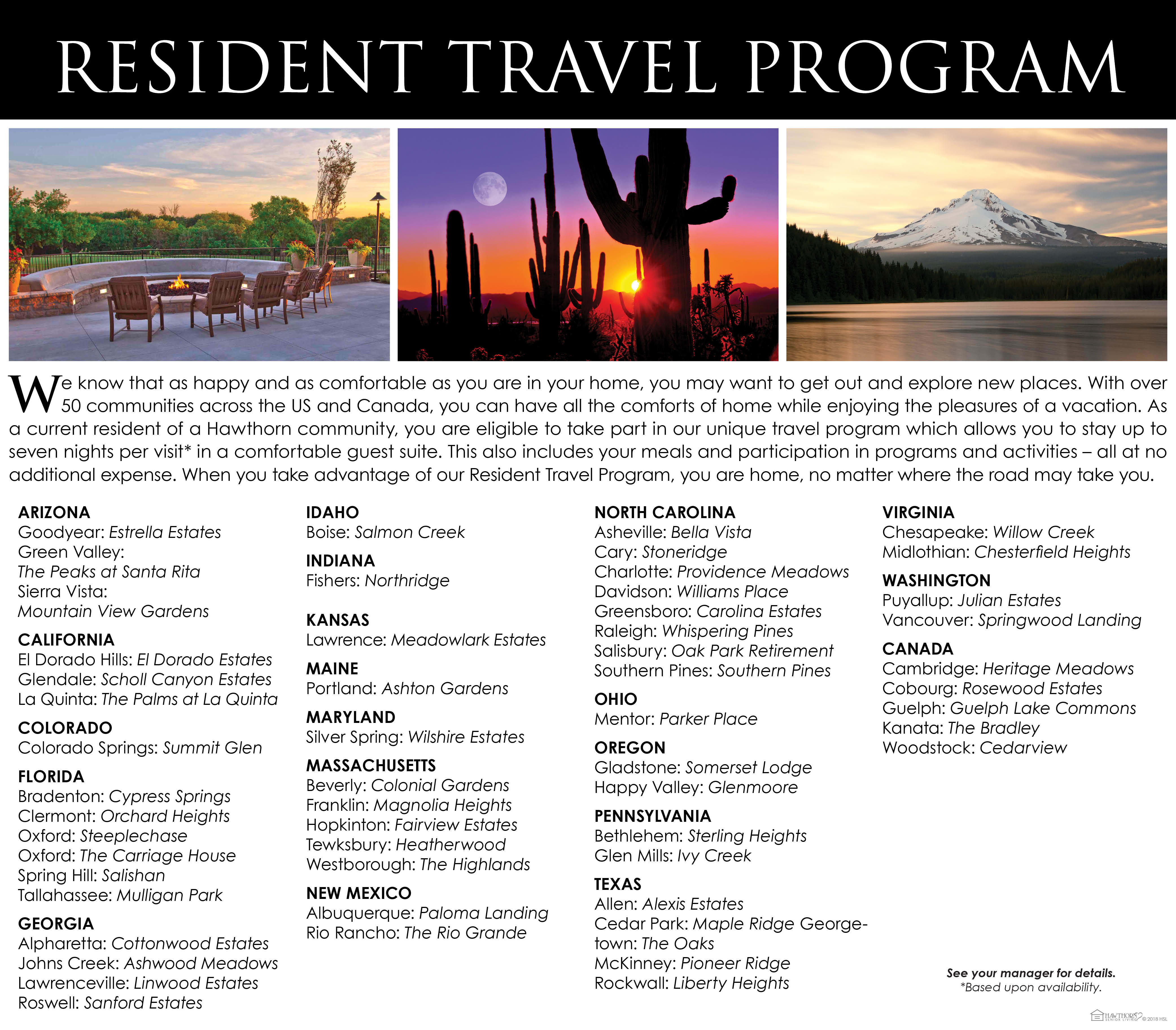 Resident travel program brochure at Capitol Ridge Gracious Retirement Living in Bristow, Virginia