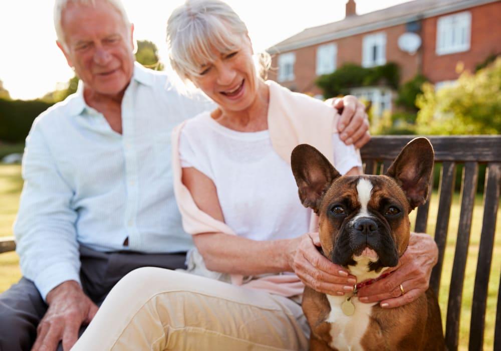 Residents sitting with dog near Holden Southcenter in Tukwila, Washington.