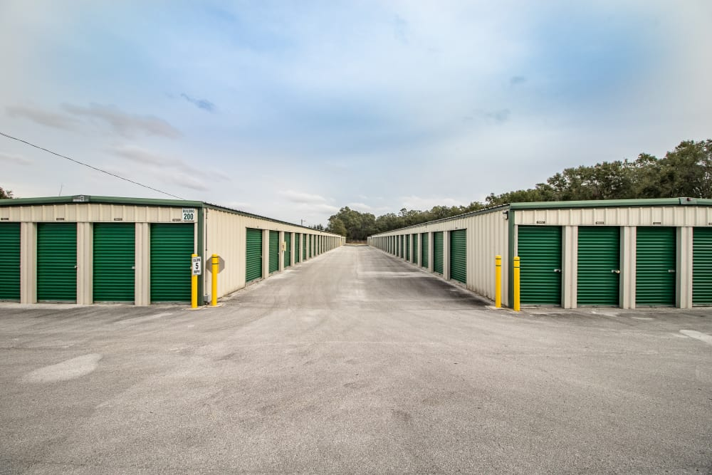 Blocks of self storage units at Neighborhood Storage