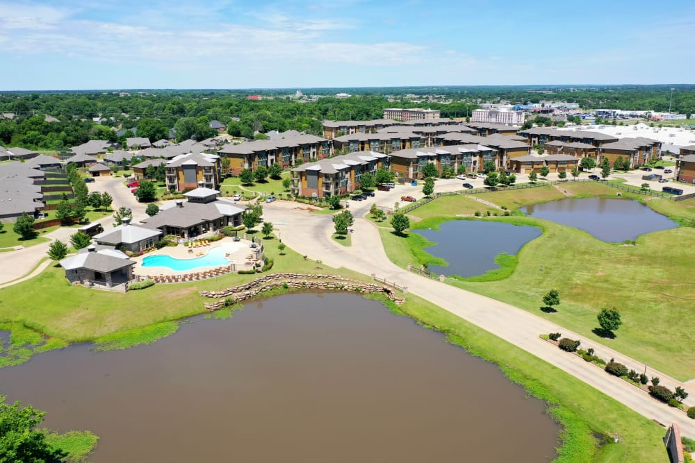Beautiful landscape with ponds at Tradan Heights in Stillwater, Oklahoma