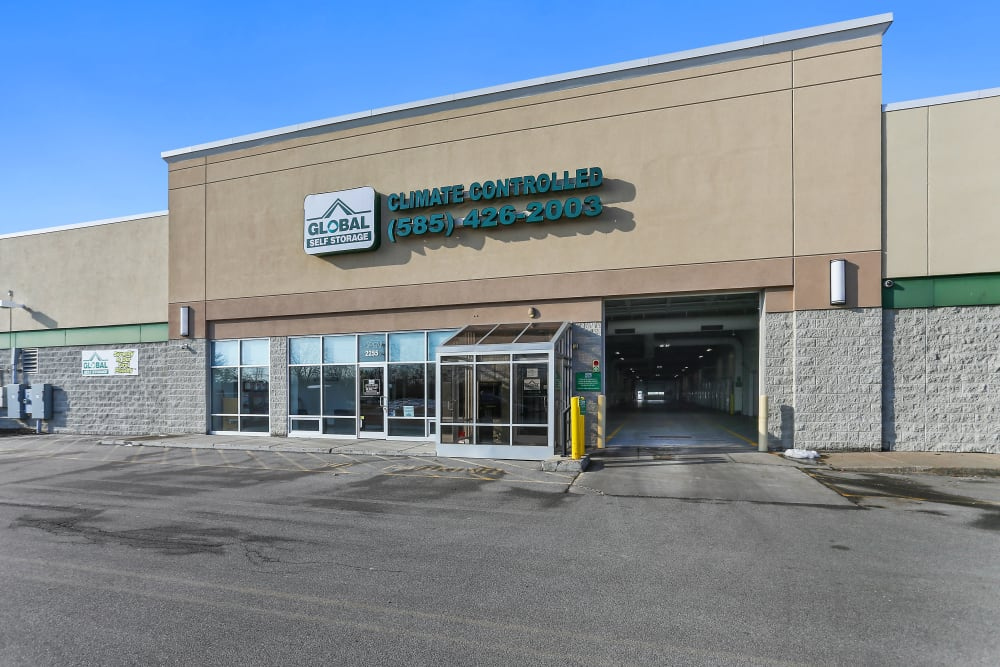 Entrance to Global Self Storage in Rochester, New York