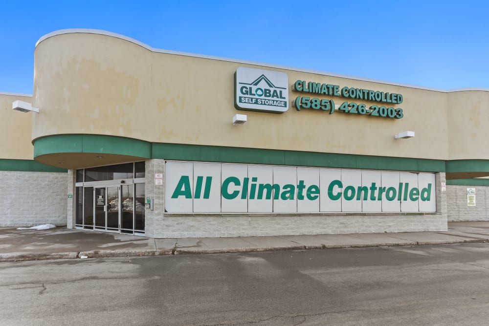 All Climate Controlled sign on the exterior of Global Self Storage in Rochester, New York
