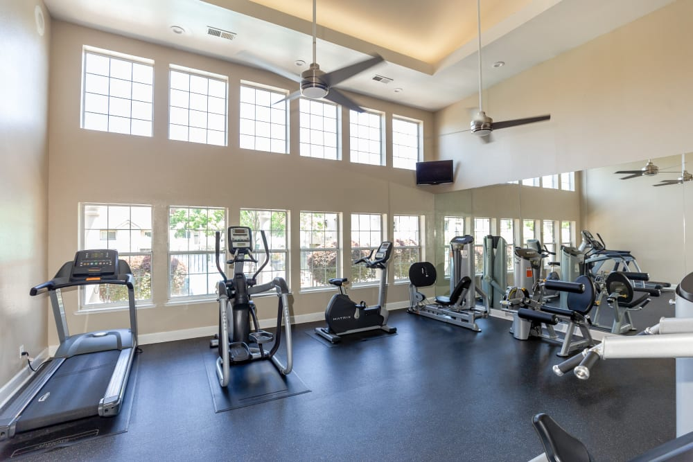 Fitness center with individual workout stations at Shaliko in Rocklin, California
