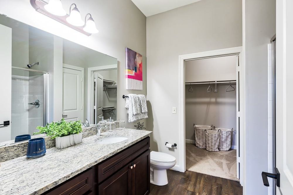 Bathroom at Boulders at Overland Park Apartments in Overland Park, Kansas
