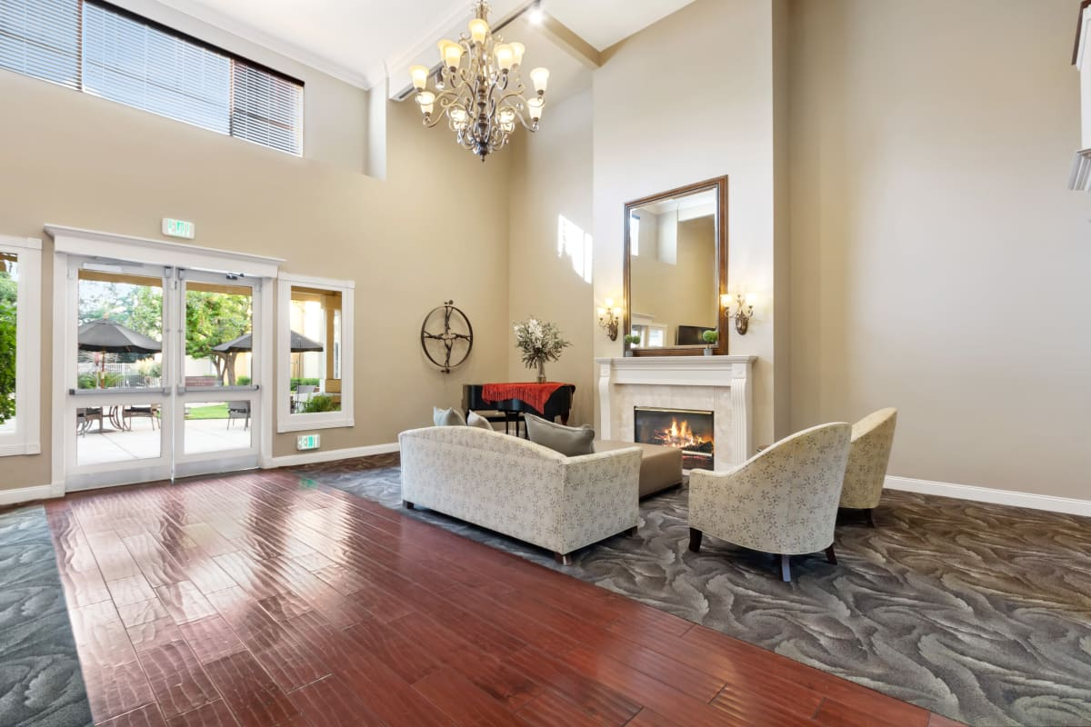 fireside seating at Claremont Place in Claremont, California
