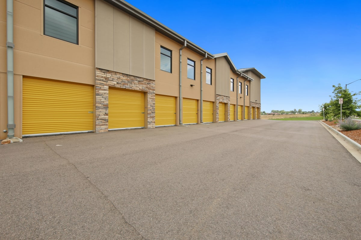 A wide driveway for loading outdoor units at Storage Star Mopac in Austin, Texas