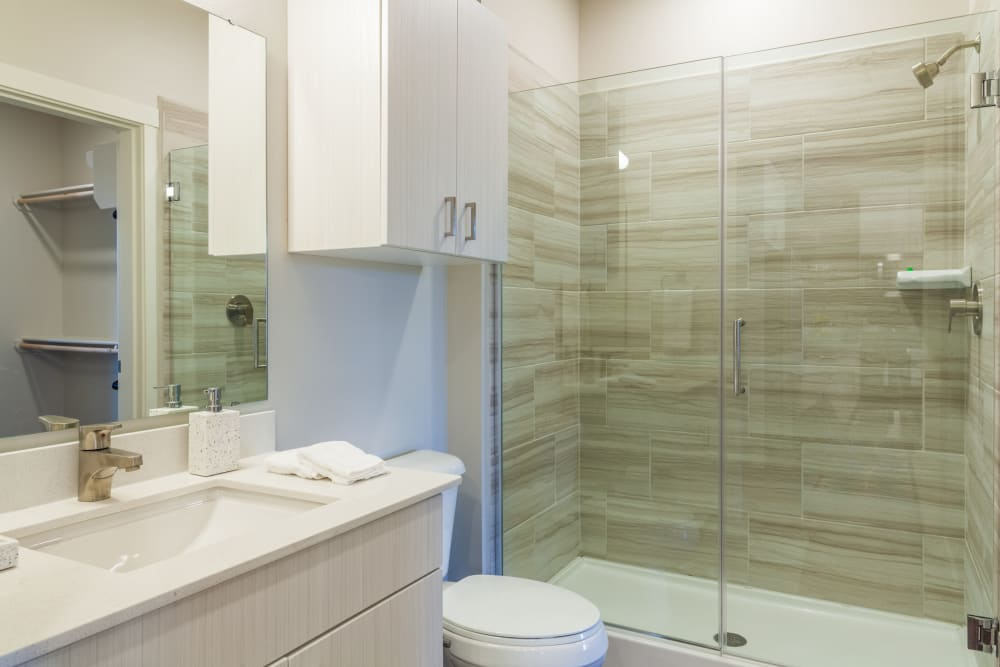 Luxurious bathroom in a model home at Capitol Flats in Santa Fe, New Mexico