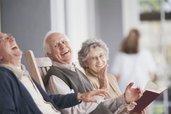 Residents bonding on the patio at Sun Oak Senior Living in Citrus Heights, California