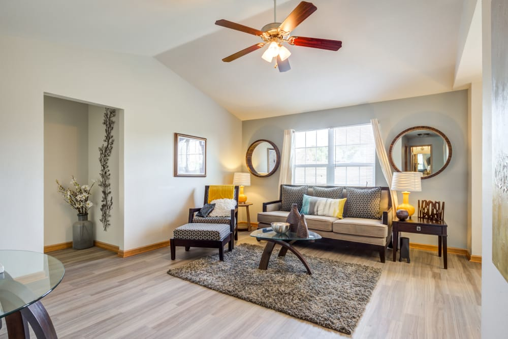 Modern living room at Aberdeen Apartments apartments