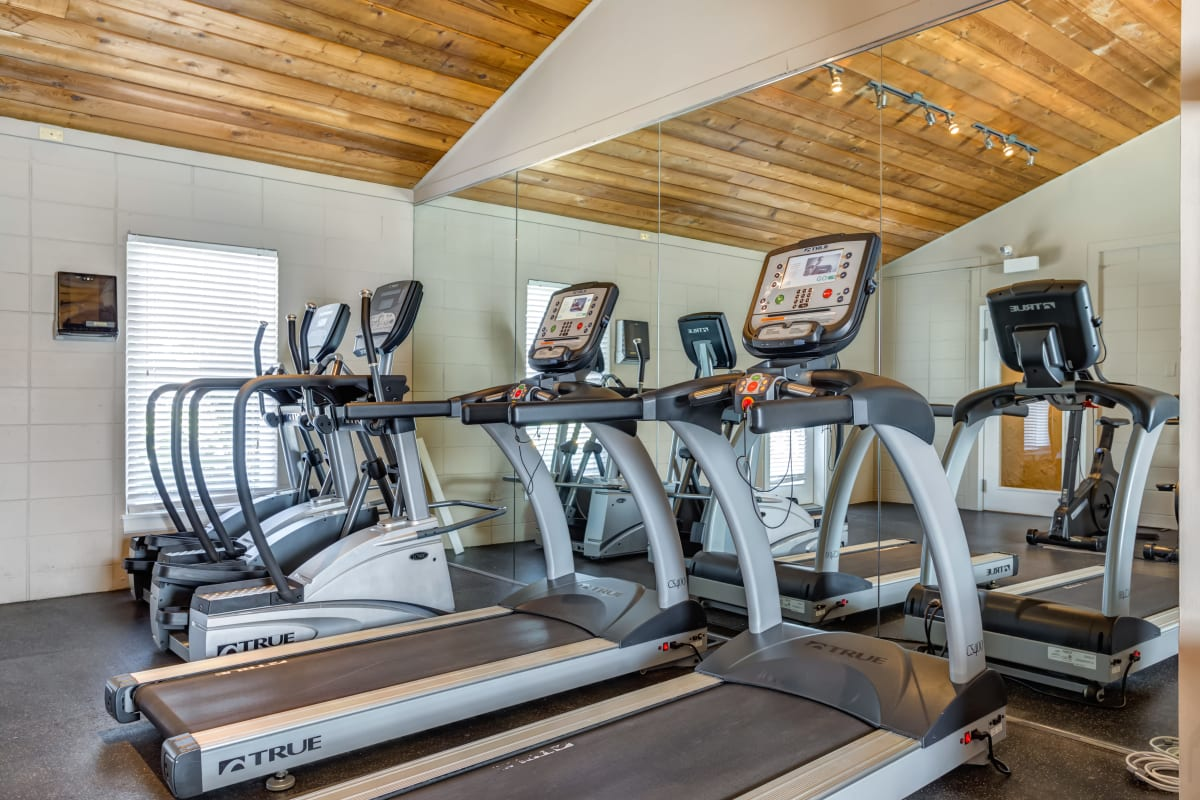 Resident fitness center with cardio machines at Lakeside Apartments in Wheaton, Illinois.