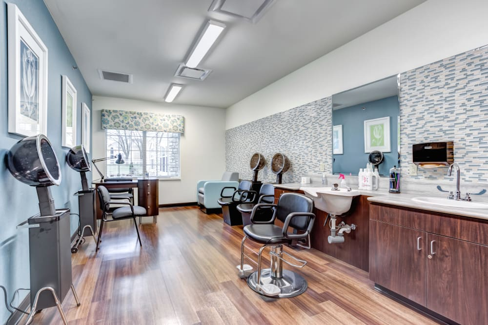 The onsite hair salon at Taylor Springs Health Campus in Columbus, Ohio.