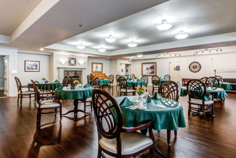 Dining hall with hardwood floor at Cypress Place in Ventura, California