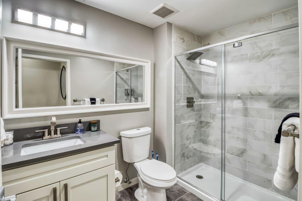 Beautiful bright bathroom at Tribeca STL in St. Louis, Missouri