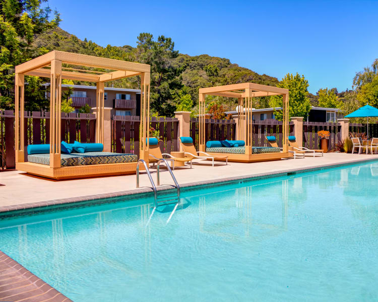 Cabanas by the pool at Sofi Belmont Hills in Belmont, California
