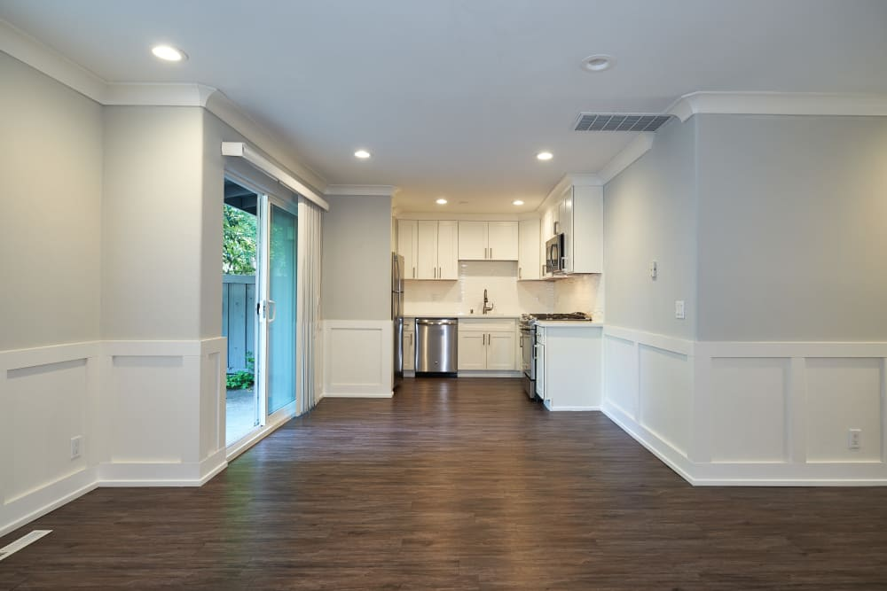 Open-concept floor plans with wood-style flooring at Allure in Alamo, California