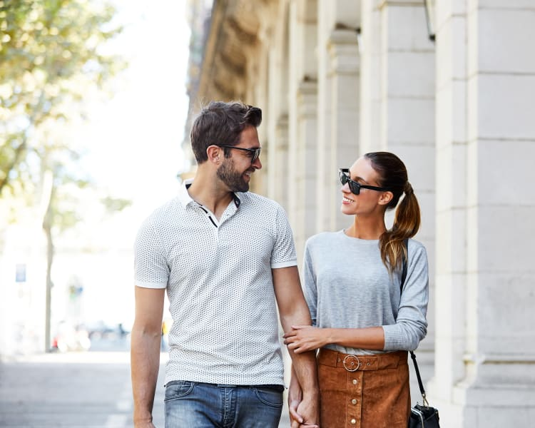 Resident couple walking downtown near Waterstone Fremont in Fremont, California