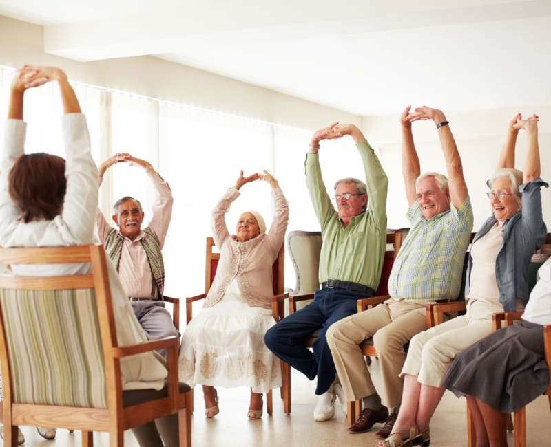 Residents from The Sanctuary at Brooklyn Center at a wellness class in Brooklyn Center, Minnesota