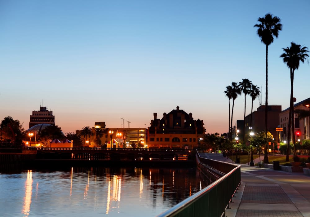 Beautiful neighborhood at sunset near the river at The Palms at Morada in Stockton, California