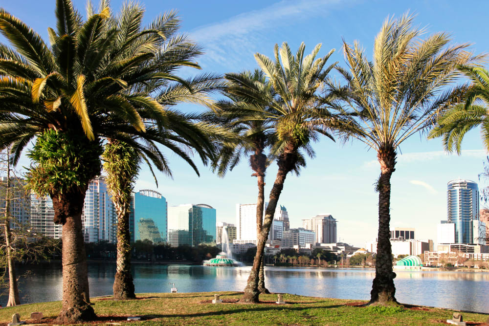 Beautiful city view over the lake near Amara at MetroWest in Orlando, Florida