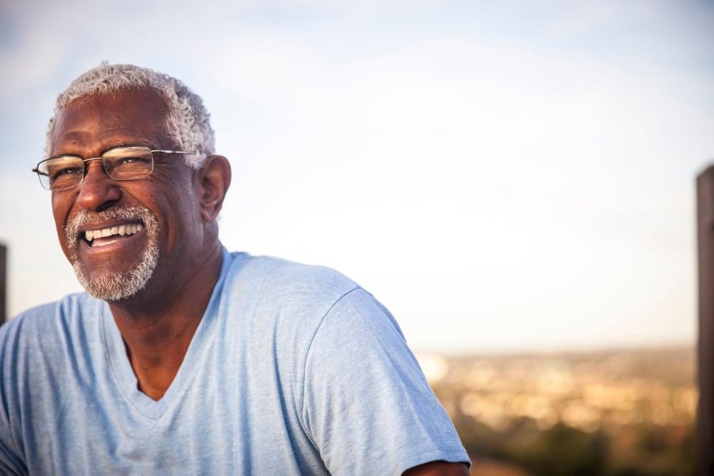 A smiling elderly gentleman at Carnegie Heights at Henderson in Henderson, Nevada