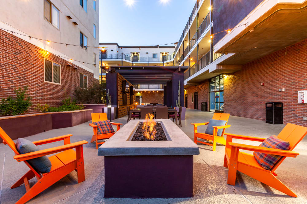 Outdoor fireplace at The Fleetwood in Tempe, Arizona