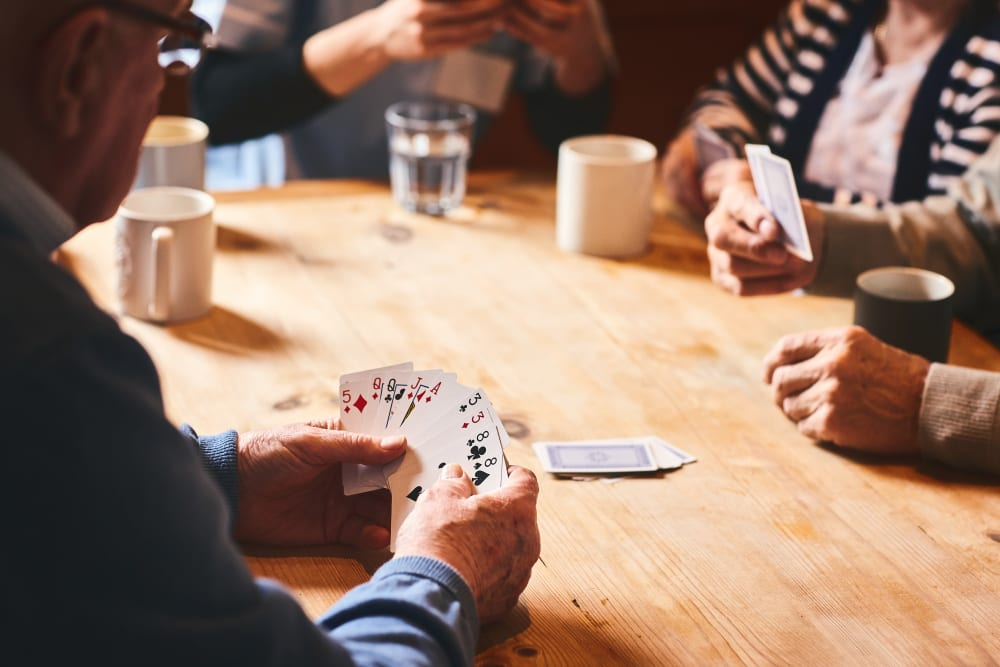 Seniors playing cards at Broadwell Senior Living in Plymouth, Minnesota