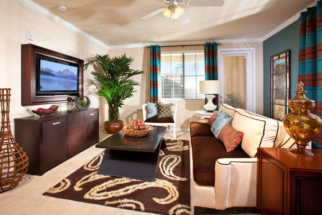 Beautifully decorated living space in model home at our Mountain Trails community in Las Vegas