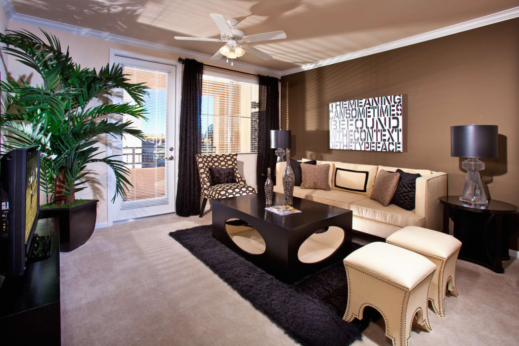 Well-designed model living room at our Mountain Gate community in Las Vegas