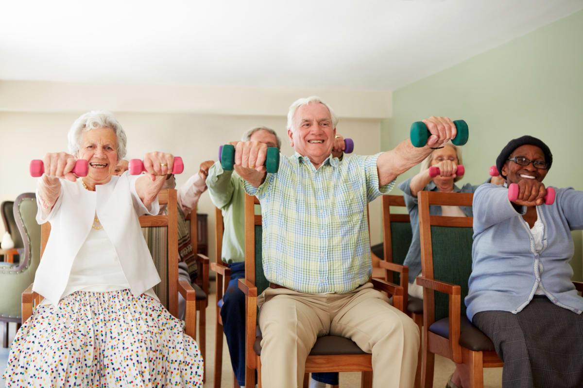 Residents doing physical training at Meridian at Ocean Villa & Bella Mar in Santa Monica, California