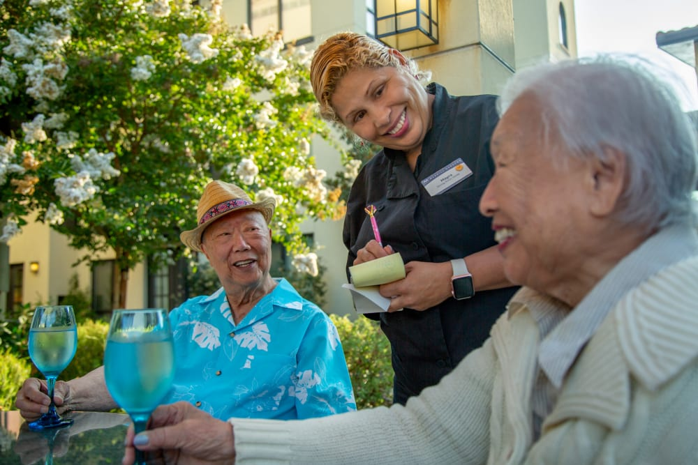 Residents enjoying a meal at Merrill Gardens at Brentwood in Brentwood, California
