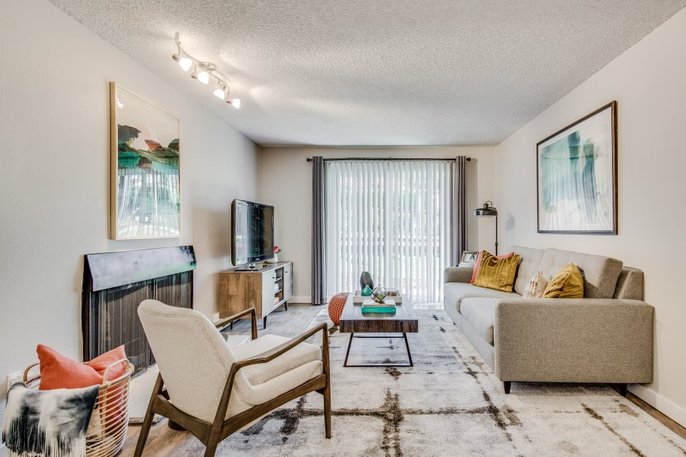 Modern Living Room at Copperstone Apartment Homes in Everett, Washington