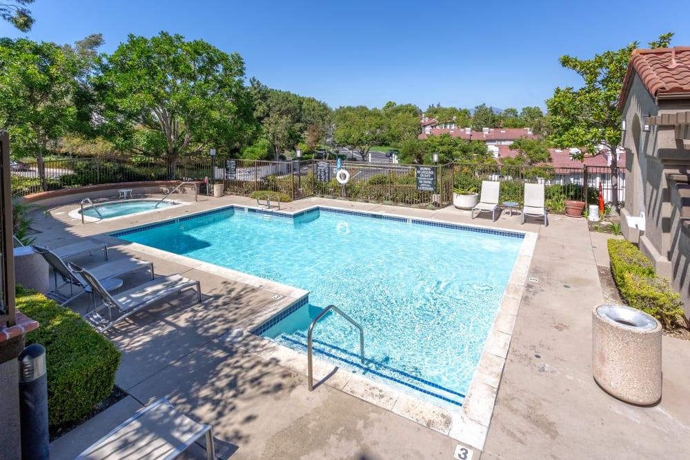Swimming pool on a bright sunny day at Niguel Summit Condominium Rentals in Laguna Niguel, California