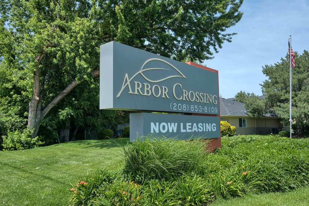 Entrance Sign at Arbor Crossing Apartments in Boise, ID