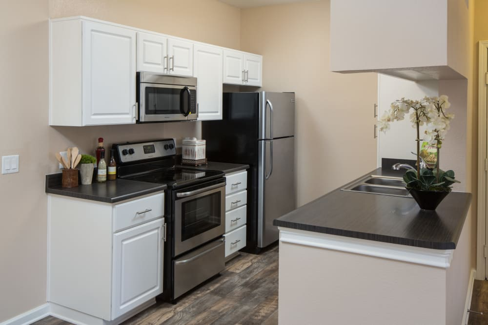 Beautiful, gourmet kitchen in a model home at Alicante Apartment Homes in Aliso Viejo, California