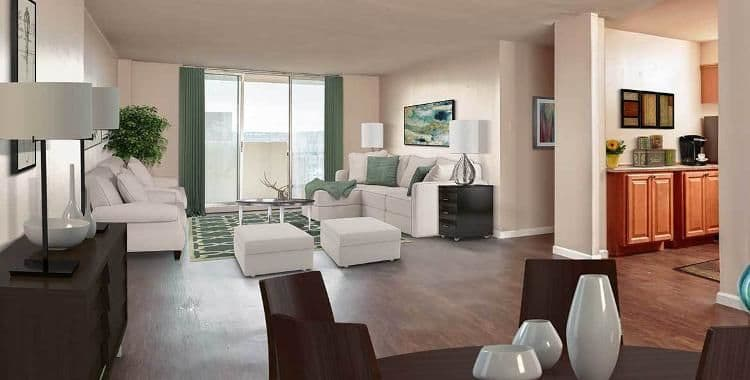 Spacious living room at Towers on the Hudson in Troy, New York