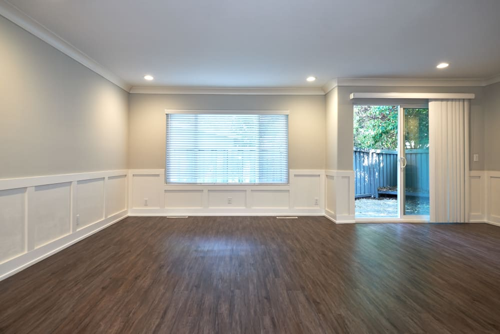 Open-concept floor plan with gas-fueled fireplace at Allure in Alamo, California