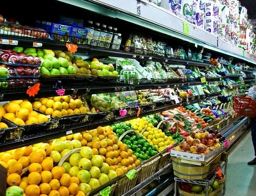 Produce section at the grocery store.